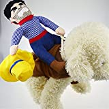 """Halloween Cowboy Dog Cat Costume Clothes Novelty Funny Pets Party Cosplay Apparel Dog Riders Clothing (M(Chest:15.74""""-19.68""""))"""
