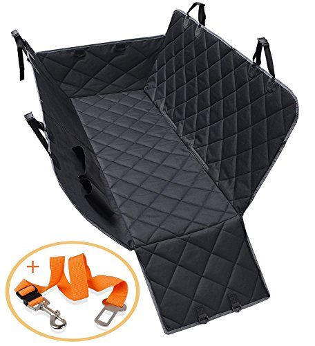 DOPTIKA Dog Seat Covers, Waterproof Pet Car Seat Covers with 2 Dog Seat Belts & Zipper & Pocket - Nonslip Back Seat Cover Dog Hammock Convertible Extra Side Flaps Best for Cars Trucks Suvs