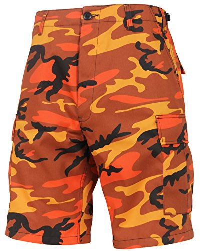 Rothco Colored BDU Shorts, Savage Orange Camo, Large