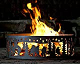 Campfire Fire Ring w Dancing Bear Design - Solid Steel (48 in. Dia.)