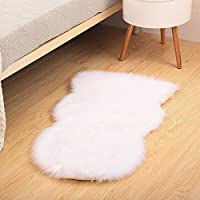 Reafort High Pile Super Soft Faux Sheepskin Rug, Chair Cover, Sofa Cover 20inx36in (20x 36, White)