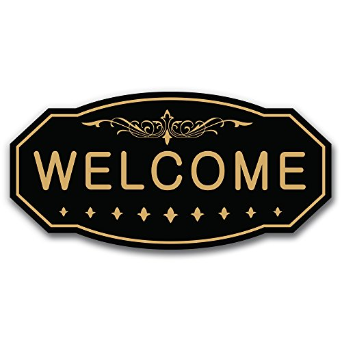 WELCOME Victorian Door / Wall Sign (Black / Gold) - Large 5