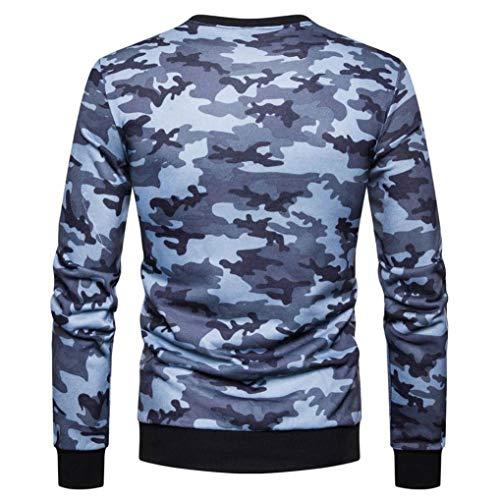 Blouse Casual Haut Longues Homme Pas Bleu Cher À Épissure T Camouflage Manches Aimee7 shirt wH74q7F