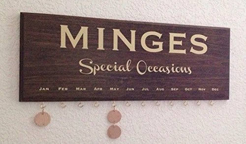 Personalize Family Calendar - Special Occasions plaque with 35 tags for hanging. Birthdays, weddings, anniversary or event gift- made in USA poplar wood.