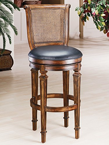 Dalton Cane Back Bar Stool, Distressed Cherry Finish with Black Leather - Stool Back Dalton Bar Cane