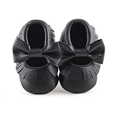 DEDEBAO Infant Toddler Baby Soft Sole Tassel Bowknot Moccasinss Crib Shoes (0-6 Months, Black)