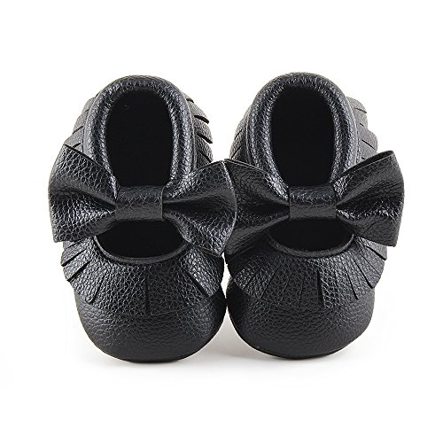 Delebao Infant Toddler Baby Soft Sole Tassel Bowknot Moccasinss Crib Shoes (6-12 Months, Black)