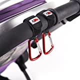 Stroller Hooks 2 Extra Strong Buggy Velcro Clips - Universal Fit for Strollers - Hook Shopping Bags Securely (Ladybug Red)