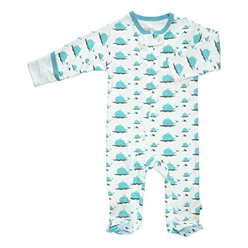 Babysoy Organic Animal Pattern Zipper Footie (0-3 Months, Whale)