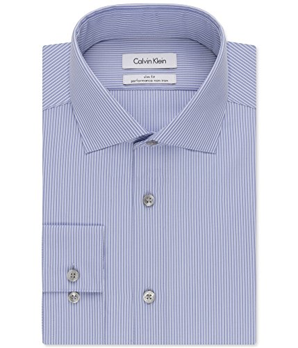 Calvin Klein Mens Striped Slim-Fit Dress Shirt Blue 15 1/2 Calvin Klein Striped Dress Shirt
