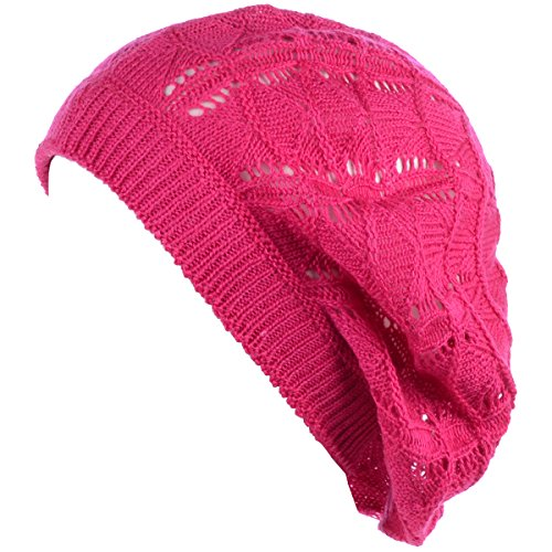 - BYOS Chic Parisian Style Soft Lightweight Crochet Cutout Knit Beret Beanie Hat (Wavy Stripes Fuchsia)