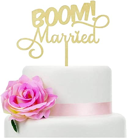 Quirky Married Wedding Cake Topper Nerdy Topper Gold Glitter Funny Cake Topper BOOM