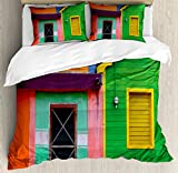 Mexican Queen Size Duvet Cover Set by Lunarable, Caribbean Houses in Vibrant Color Scheme in Isla Mujeres Mexico Latin America Photo, Decorative 3 Piece Bedding Set with 2 Pillow Shams, Multicolor