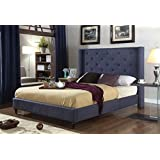 "Home Life Premiere Classics Cloth Charcoal Blue Linen 51"" Tall Headboard Platform Bed with Slats Queen - Complete Bed 5 Year Warranty Included 007"