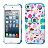 ice cream ipod case - iPod touch 5th 6th Generation White Plastic/Blue Silicone 3-Piece Style Hybrid Hard Case Cover for Apple - For Girls And Boys - Shockproof Dustproof with Stand (Cupcakes)