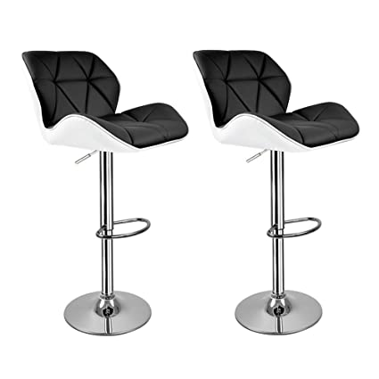 Astonishing Hollylife Gift For Family Furniture Set 2 X Breakfast Bar Stools With Backs Faux Leather Chrome Base Kitchen Stools Black Bralicious Painted Fabric Chair Ideas Braliciousco