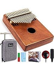Kalimba 17 toetsen vinger duim piano marimba marib mahonie met gewatteerde gigbag tuner hamer door kmise (MI2616-FBA)
