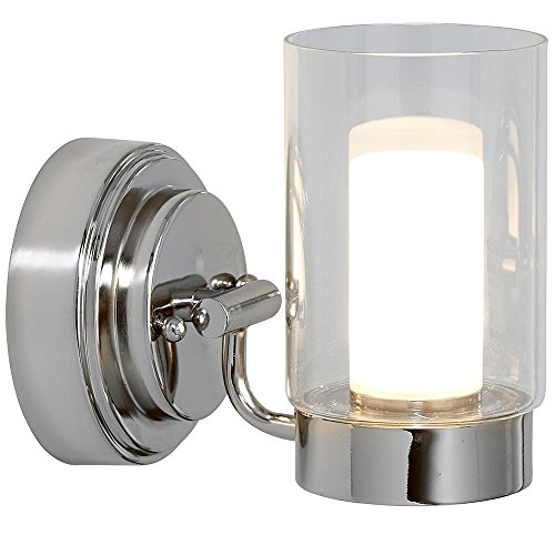 Polished Nickel Candle Light Fixture | Glass Surrounded LED Lighting Fixture | Vanity, Bedroom, or Bathroom | Interior Lighting Single Light ()