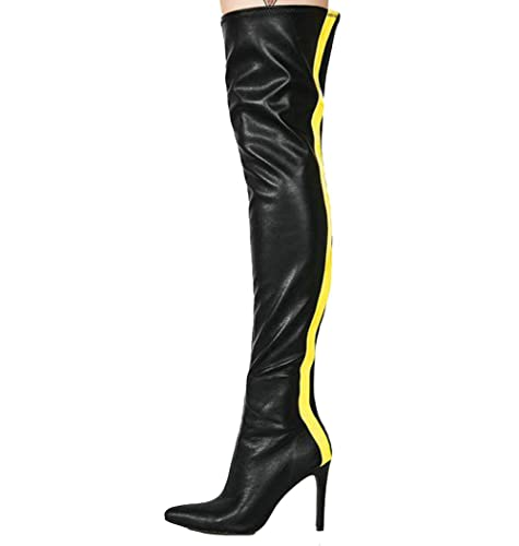 21da812190e9 Themost Above The Knee Boots Zipper Pointy Toe Stiletto Long Thigh High Boot  Wide Calf Booties
