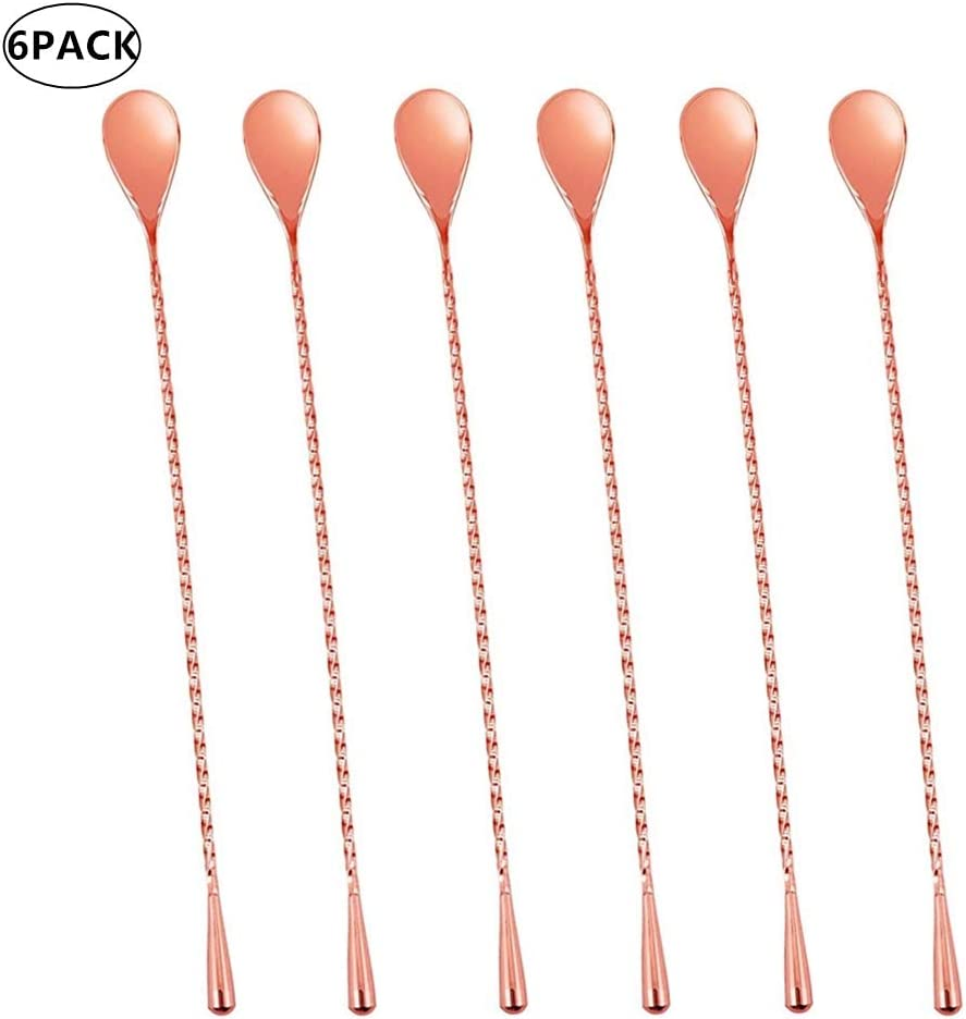 Rose Gold Bar Spoons Stainless Steel Set of 6 Professional Cocktail Mixing Spoon Bar Tool Japanese Style Teardrop End Design by Ame Ryoku 12 Inches