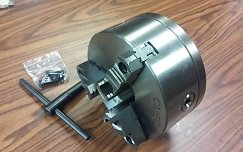 8'' 3-JAW SELF-CENTERING LATHE CHUCK top & bottom jaws, w. 2-1/4''-8 adaptor plate by CME Tools