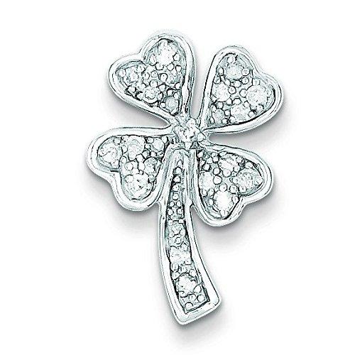 Argent Sterling Rhodium plaqué diamant pendentif trèfle à quatre feuilles-JewelryWeb