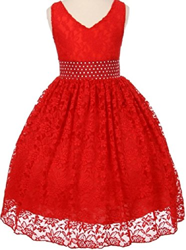 [Big Girls' V Shape Neckline Pearl Waistband Flowers Girls Dresses Red 16 (S30H33)] (Red Mini Cropped Satin Gloves)