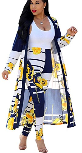 (Women 2 Piece Outfits Striped Floral Open Front Yellow Cardigan and Pants Set)