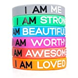 "Inspirational Silicone Wristbands by Solza | 6-Piece Set Rubber Band Bracelets, 6 Different Colors & Messages to Brighten Your Day | Adult Unisex Size, 8"" x 0.5"" 