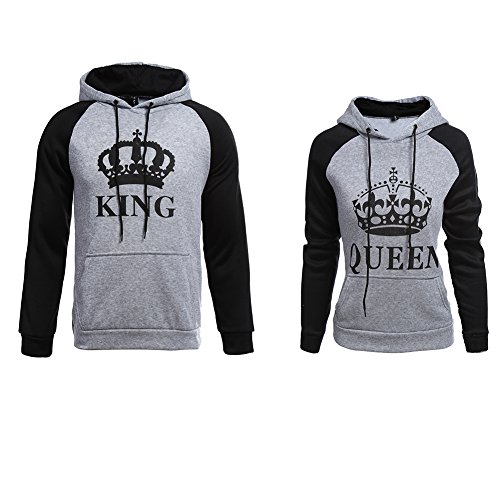 YJQ Men's Women's King Queen Matching Couple Crown Pullover Hoodie Sweatshirts Grey Women L by YJQ