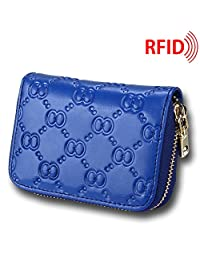 MuLier Top Grain Genuine Leather Embossed Female Small Purse Leather Card Holder (Blue)