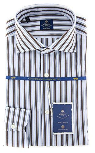 new-luigi-borrelli-brown-striped-extra-slim-shirt