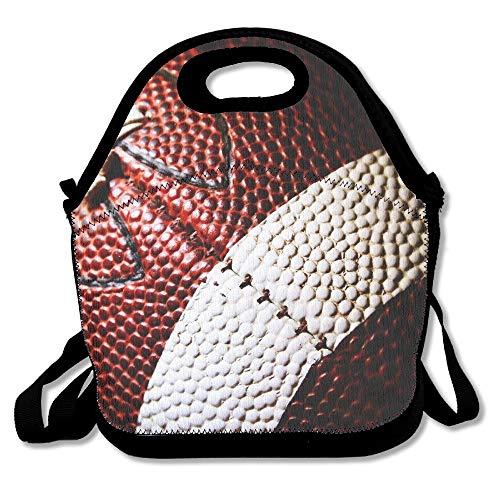Neoprene Lunch Tote - Football Wallpaper Waterproof Reusable Cooler Bag For Men Women Adults Kids Toddler Nurses With Adjustable Shoulder Strap - Best Travel Bag