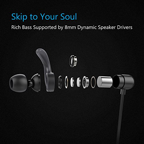 iClever Bluetooth Headphones, Wireless Earbuds with Stereo Music, 10 HOURS Playtime, Magnetic Connection, CVC 6.0 Noise Cancelling, Waterproof Sports Headphones for iPhone 8 - XFree Mini (Black)