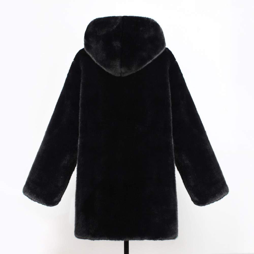 Women Faux Fur Coat Jackets Outerwear Long Sleeve Pockets Winter Soft Thick