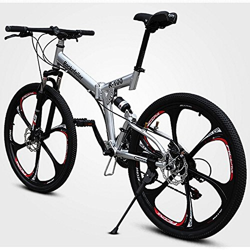 26 Inch 21 Speed Mountain Bike Folding Bike Cycling SHINING SYS Double Disc Brake Springer Fork Soft-tail Frame Ordinary/Standard (White)