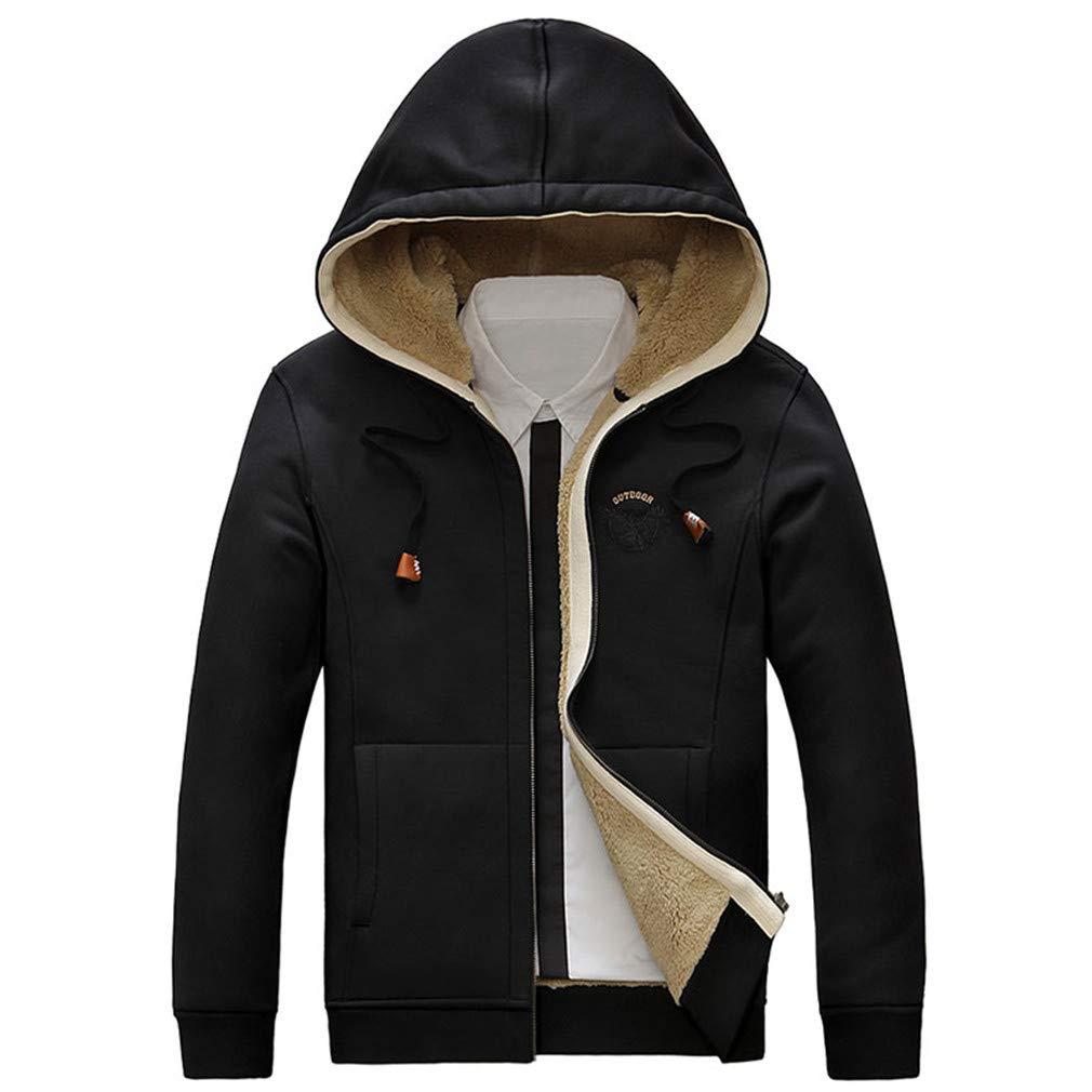 EQKWJ Winter Thick Fleece Hoodies Men Thermal Warm Sweatshirts Cotton-Padded Fashion Outerwear Coats