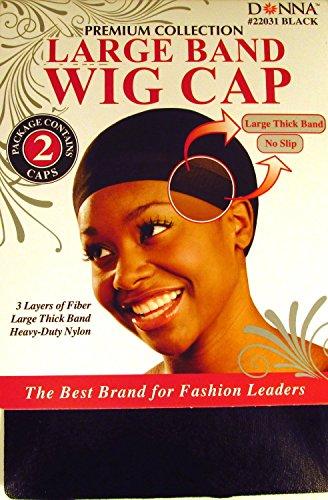 Donna Large Band Wig Cap Black - 12 pack