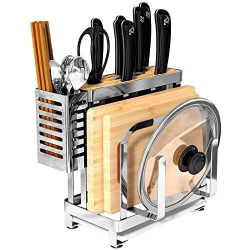 cfxdxayd Stainless Steel Kitchen Knife Rack Chopping Board Pot Lid Storage Holder Multifunction Kitchen Organizer by cfxdxayd