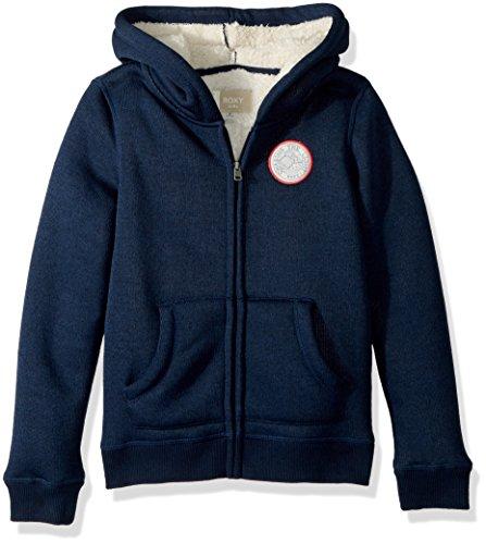 (Roxy Girls' Big' Feel Her Breath Sherpa Zip-Up Sweatshirt, Dress Blues, 10/M)
