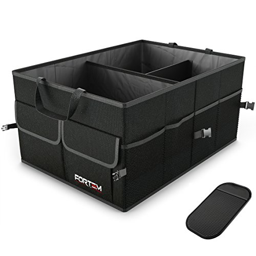 Premium Quality Auto Trunk Organizer by RoadPal For Car, SUV, Truck - Durable Collapsible Cargo Storage - Non Slip Bottom Strips to Prevent Sliding w/ Bonus Foldable WATERPROOF COVER (NEW Version) Accessories RoadPal