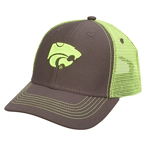 Ouray Sportswear NCAA Kansas State Wildcats Youth Sideline Mesh Cap, Adjustable Size, Dark Grey/Neon Yellow - Youth Sideline Cap
