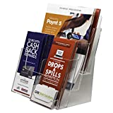 Clear-Ad - LHF-P83 - Plastic Rack Card Literature - Acrylic 3 Tier 6 Pocket Brochure Organizer - Desktop or Wall Mount Leaflet Rack - Tabletop Multiple Pamphlet Stand with Business Card (Pack of 1)