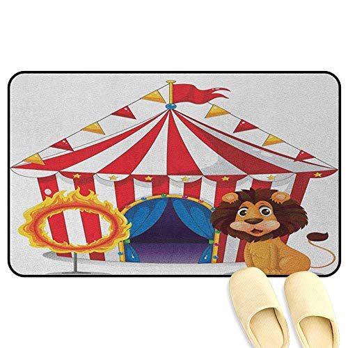 homecoco Circus Decor Bathroom Mats Rubber Non Slip Lion and a Fire Ring in Front of The Circus Tent Lightbulbs Flame Adventure Multicolor Kitchen Decor mats W19 x L31 INCH