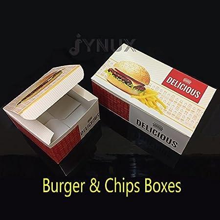 Desechables hamburguesa y Chips de cartón kraft cajas de comida rápida 20x Burger & chips Boxes: Amazon.es: Hogar