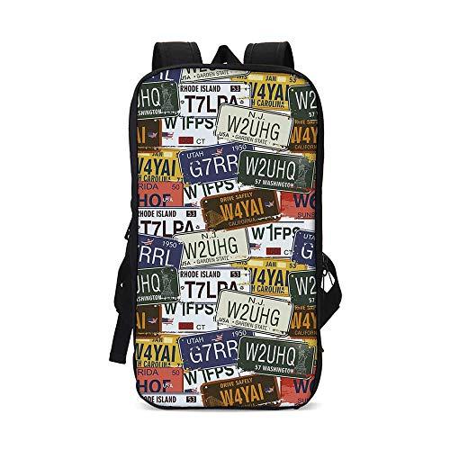 USA Stylish iPad Backpack,Retro American Auto License Plates Utah Washington Rhode Island North Carolina Print for School Office,9.8