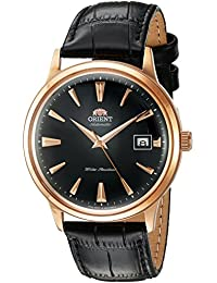 Men's '2nd Gen. Bambino Ver. 1' Japanese Automatic Stainless Steel and Leather Dress Watch, Color:Black (Model: FAC00001B0)