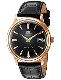 Orient Men's '2nd Gen. Bambino Ver. 1' Japanese Automatic Stainless Steel and Leather Dress Watch, Color:Black (Model: FAC00001B0)