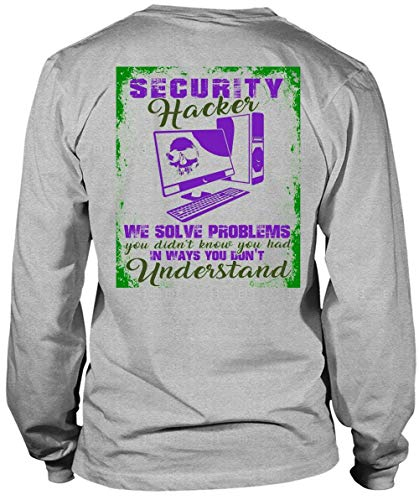 Security Hacker We Solve Problems Long Sleeve Tees, I Love Hacker T Shirt-LongTee (XXL, Sport Grey)