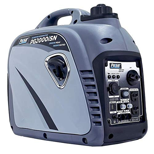 Pulsar 2,000W Portable Gas-Powered Quiet Inverter Generator with USB Outlet & Parallel Capability in Space Gray, CARB Compliant, PG2000iSN (Best Generator For Tailgating)